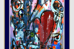 HEART AND FIRE - Technique mixte sur toile 150X100