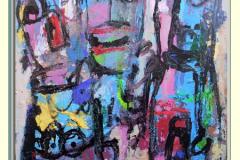 LES ANGES DES GRATTE CIEL - Technique mixte sur toile 100x100