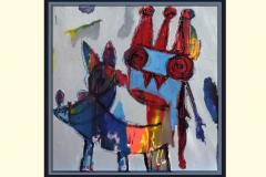 DOG O BERT - Technique mixte sur toile 100x100cm